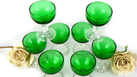 Vintage Set of 8 Sherry Cordial Stemware Boopie Glasses in Green - ChaseyBlueVintage