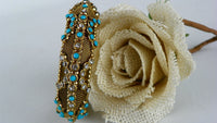 Vintage Beaded Bangle Bracelet for Small Wrist - ChaseyBlueVintage