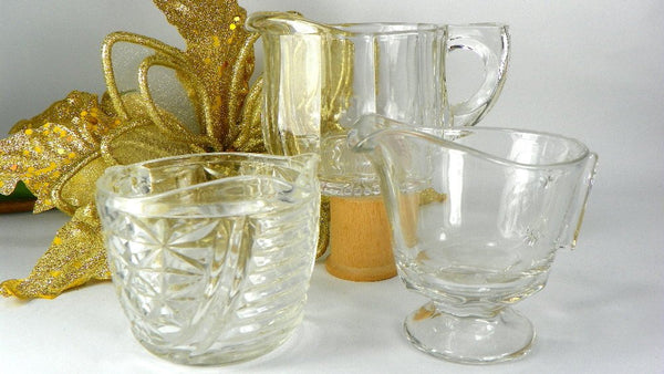 3 Vintage Mismatched Clear Glass Cream Pitchers