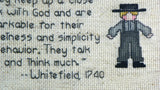 Vintage Amish Folk Counted Cross Stitch Picture with Whitefield Quote - ChaseyBlueVintage