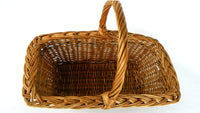 Vintage Natural Wicker Gathering Basket with Braided Weave Top - ChaseyBlueVintage
