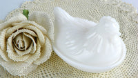 Vintage Hen on Nest White Milk Glass Trinket Box - ChaseyBlueVintage