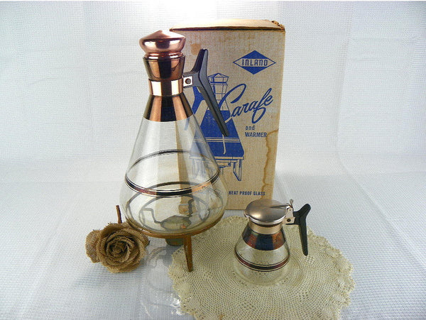 Mid Century Coffee Carafe with Warmer and Matching Creamer - ChaseyBlueVintage