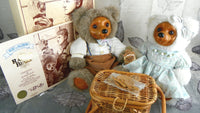 Vintage 1992 Robert Raikes Bears Alec and Allison Complete Picnic Pair - ChaseyBlueVintage