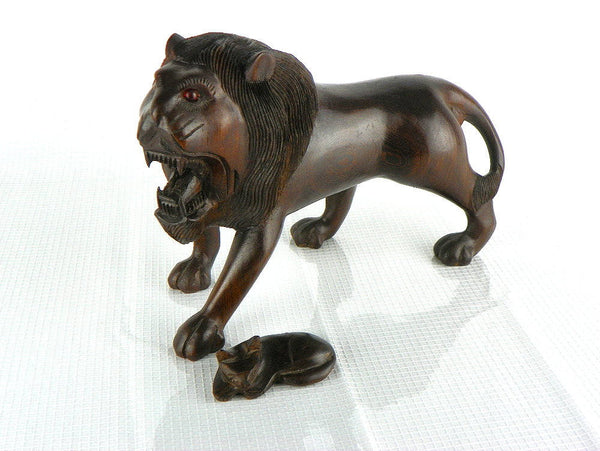 Vintage Ironwood Lion Carving Exquisite Detail with Red Glass Eyes - ChaseyBlueVintage