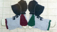 Vintage Amish Girls Cross Stitch Matted and Framed Back To Back Sunbonnet Sue Nursery Decor - ChaseyBlueVintage