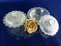 2 Vintage Textured Glass Covered Butter Dishes for Buffet Table - ChaseyBlueVintage