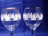 Elegant Long Stem Glasses For Toasting, Winter Theme for Holidays or Wedding - ChaseyBlueVintage