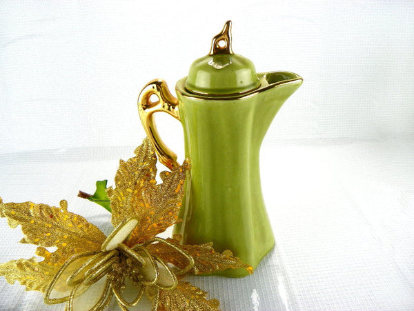 Hand Painted Nor-So Hot Drink Pitcher Green and Gold Pottery Coffee Carafe - ChaseyBlueVintage