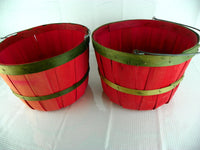 2 Vintage Split Wood Apple Baskets Red with Green - ChaseyBlueVintage