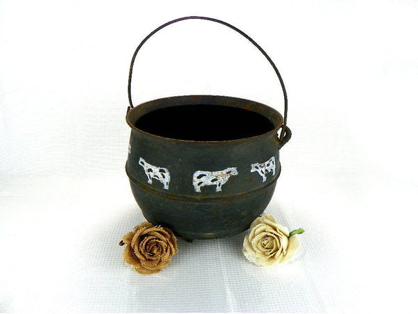 Rustic Old Cast Iron Cauldron with Handle - ChaseyBlueVintage
