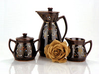 Vintage Moriage Redware Tea Set Teapot with Lid Creamer and Sugar with Lid - ChaseyBlueVintage