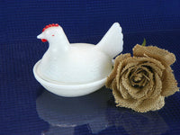 Vintage Hen On Nest White Milk Glass with Red Comb - ChaseyBlueVintage