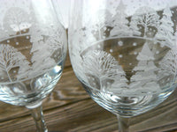 4 Tall Winter Scene Stemware Holiday Glasses Holiday For Toasting - ChaseyBlueVintage