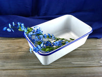 Antique Medical Enamelware Pan with Blue Rim - ChaseyBlueVintage