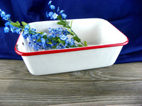 Vintage Enamelware Pan White with Red Rim - ChaseyBlueVintage