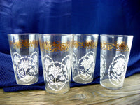 8 White Lily Drinking Glasses with 22 KT Gold Floral Band - ChaseyBlueVintage