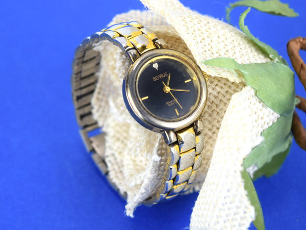 Vintage Benrus Ladies Wristwatch Diamond Solitaire Quartz - ChaseyBlueVintage