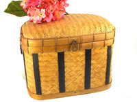 Wicker Storage Basket Vintage Medium Size with Padded Lid - ChaseyBlueVintage