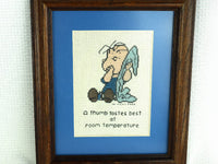 "Vintage Peanuts Framed Cross Stitch Linus Character ""A Thumb Tastes Best at Room Temperature"" - ChaseyBlueVintage"