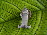 Maine Lighthouse Pewter Lapel Pin Brooch Retro State Souvenir - ChaseyBlueVintage