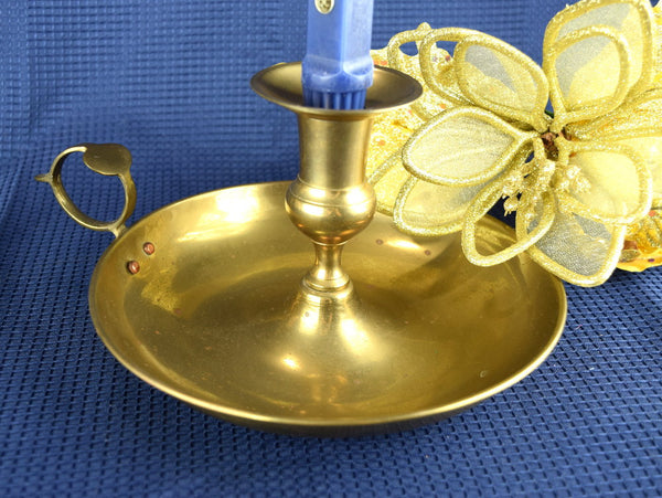 Vintage Brass Candlestick Holder Large Chamber Candle Holder