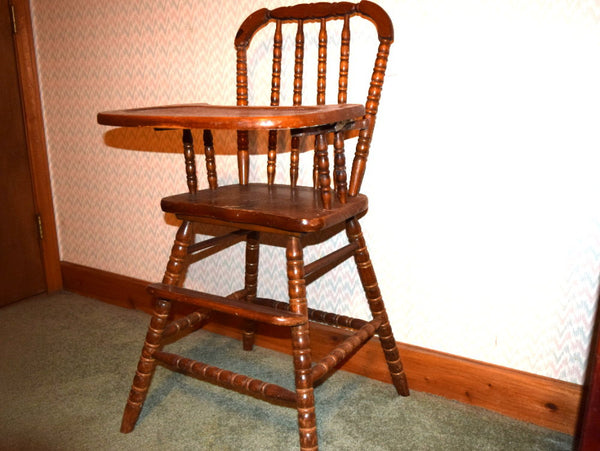 Vintage Jenny Lind High Chair with Removable Adjustable Tray - Chaseybluevintage