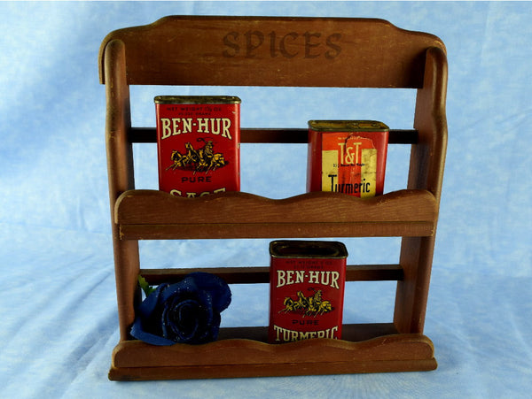 Vintage Wood Spice Rack Small Kitchen Shelving Chaseybluevintage