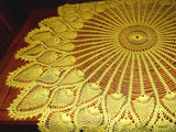 "Extra Large Gold Metallic Crocheted Table Topper 48"" Round Handmade Pineapple Design - ChaseyBlueVintage"