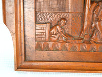 Antique 1920s Wooden Hand Carved Tray with Asian Farm Scene - ChaseyBlueVintage