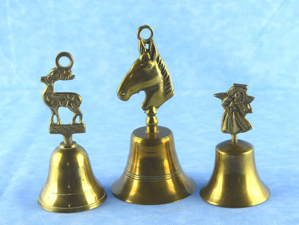 Choice Vintage Brass Bells Reindeer Horse Head and Angel - Chaseybluevintage