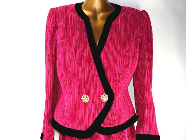 Vintage Talbots Hot Pink Jacket and Skirt Black Velvet Trim with Rhinestone Buttons - Chaseybluevintage