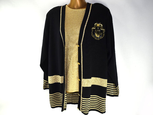 Vintage Nautical Cardigan Black and Metallic Gold Sweater Jacket Matching Pullover Top - Chaseybluevintage