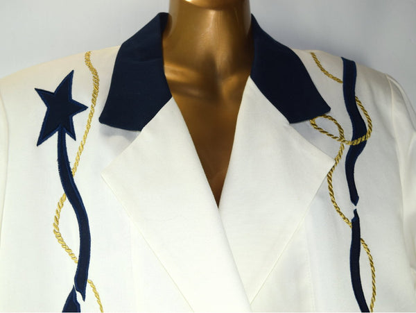 Vintage Howard Wolf Linen Jacket Double Breasted Nautical Embroidered Embellishment - Chaseybluevintage