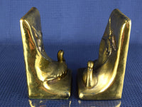 Pair of Duck Bookends Cast Metal Brass Coated Vintage Sitting and Flying Ducks - ChaseyBlueVintage
