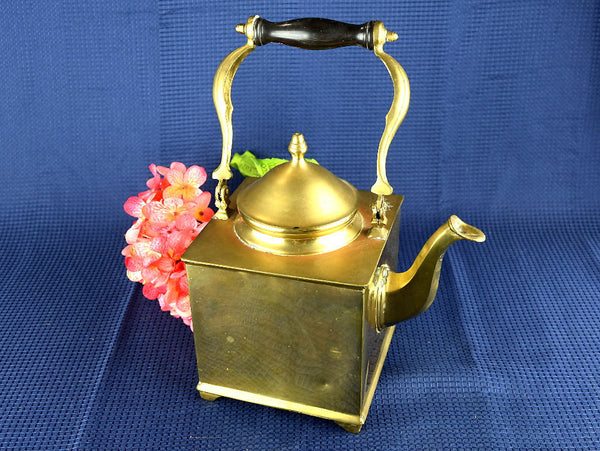 Square Tea Pot Brass Vintage Ships Kettle Footed Teapot Wood Handle - ChaseyBlueVintage