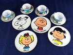 Peanuts Gang Tin Tea Set Snoopy Charlie Brown Mid Century Cups Saucers Plates - ChaseyBlueVintage