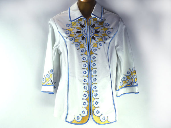 Vintage Bob Mackie Shirt Jacket New with Tag Zip Up Front Embroidered Wearable Art - Chaseybluevintage