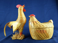 Vintage Chicken Baskets Natural Wicker Set of 2 - Hen and Rooster - Chaseybluevintage