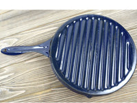 Vintage Blue Granite Enamel Skillet Frying Pan for Grilling - Chaseybluevintage