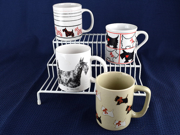 Scottie Coffee Mugs Mismatched Set of 4 Vintage Scottish Terrier Cups - Chaseybluevintage