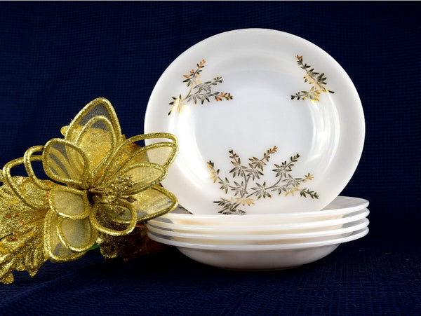 5 Vintage Salad or Soup Bowls Federal Glass Golden Glory Pattern Gold Bamboo Leaves - Chaseybluevintage