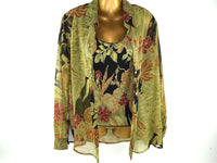 Vintage Olive Green Sheer Blouse with Matching Shell Size Large - Chaseybluevintage