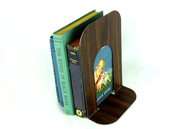 Vintage Extra Tall Metal Bookend Woodgrain Finish Non-Scratch Cork Bottom - Chaseybluevintage