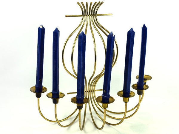 Large Brass Candlestick Holder Wall Candelabra Vintage 7 Candle Holder Sconce - Chaseybluevintage