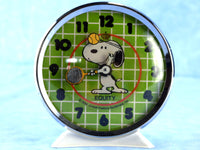 Vintage Snoopy Alarm Clock Playing Tennis Wind Up Peanuts Gang Equity Clock Chaseybluevintage