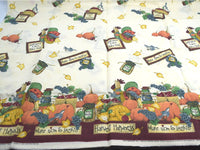 Daisy Kingdom Fall Fabric Autumn Pumpkins Harvest Happiness Border with Roosters Cats - Chaseybluevintage