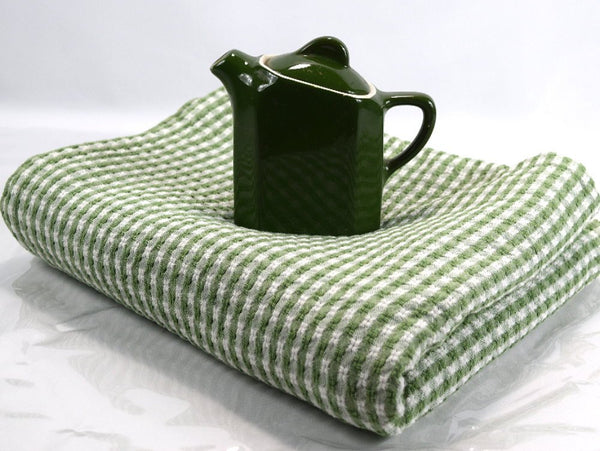 Vintage Olive Green Tablecloth Farmhouse Woven Checkered Rectangle - Chaseybluevintage