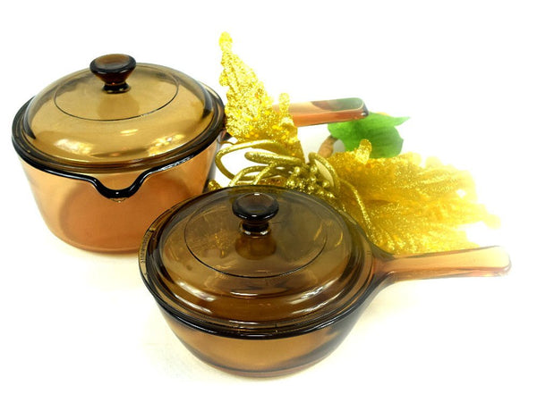 4 Piece Amber Visions Cookware Starter Set Corning Sauce Pan Cooking Pot with Lids Chaseybluevintage