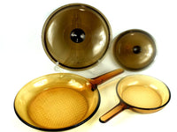 Nice Amber Visions Cookware 4 Piece Skillet Set Frying  7 In and 11 In Pans with Lids Chaseybluevintage